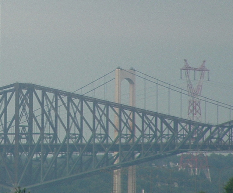 two Quebec bridges and electrical line tower