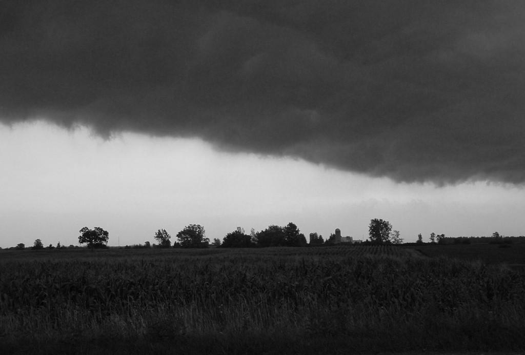 Black and white field, horizon and dark clouds