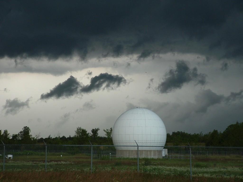 Heavy sky over fenced structure near Ottawa