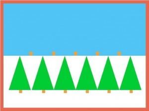 Reversible graphic design of tree line horizon