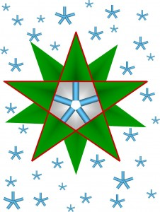 Digital star graphic made of trees and snow flake