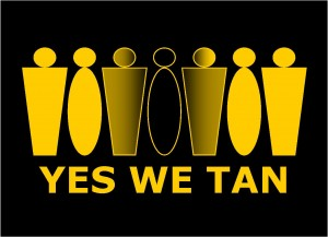 Graphic design showing human figures and slogan Yes We Tan