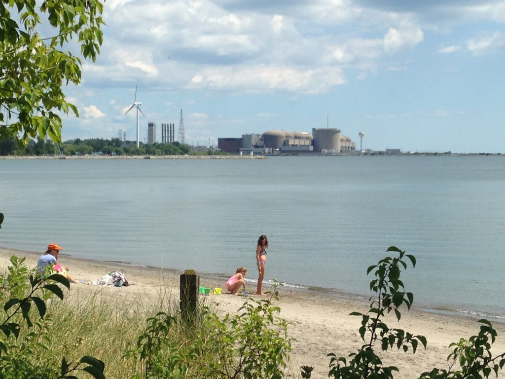 View of nuclear power plant from the beach, lake Ontario