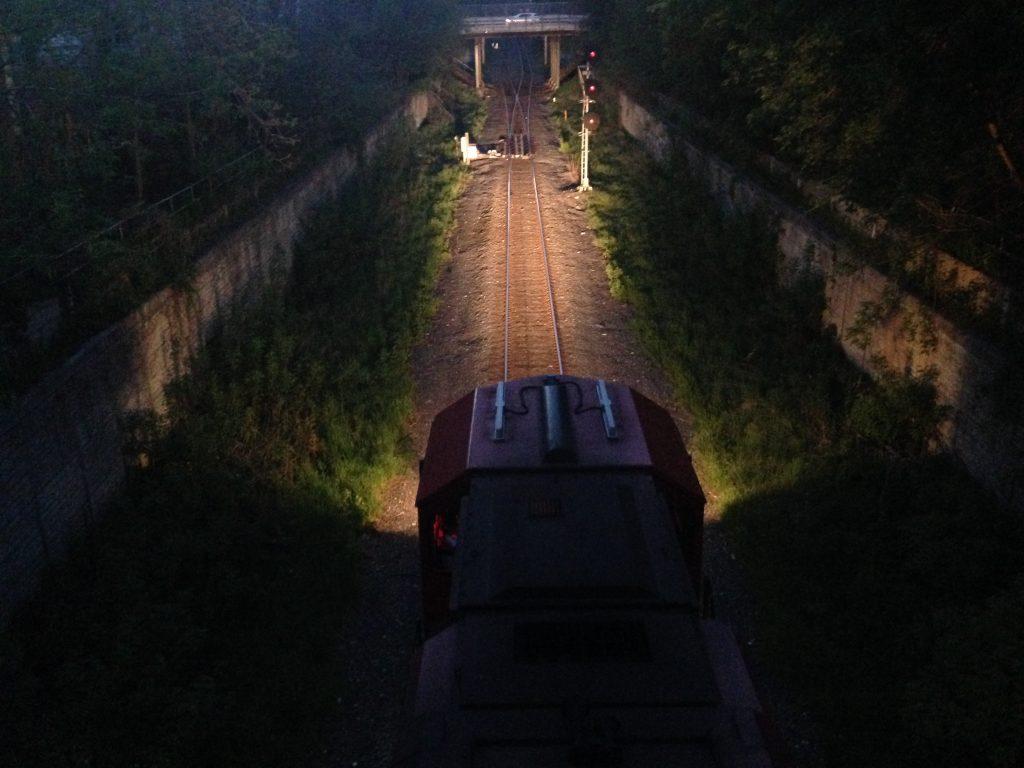 railway and train at night from the Locke Street bridge